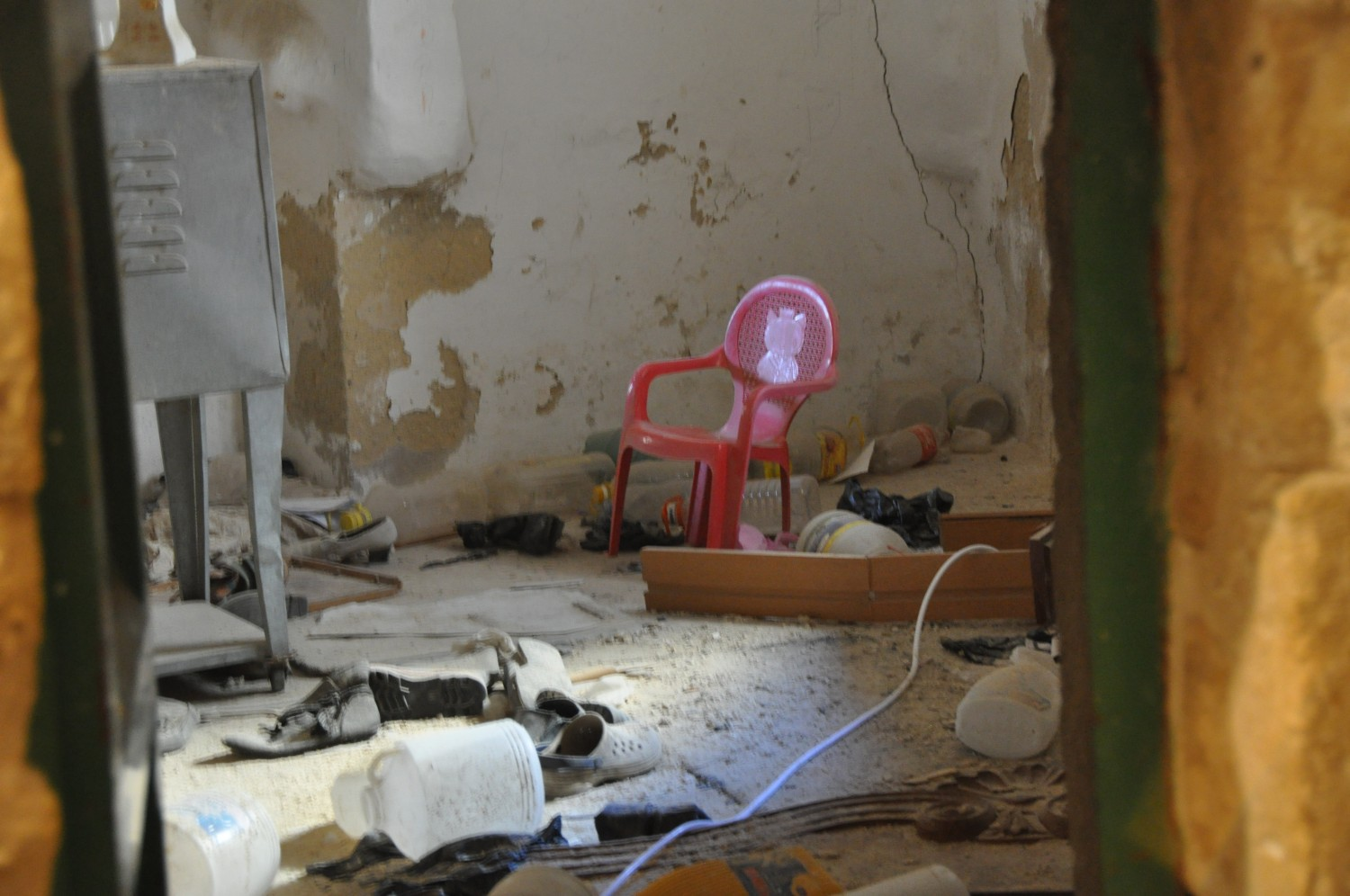 Thrash left in rooms inaccessible by their Palestinian owners