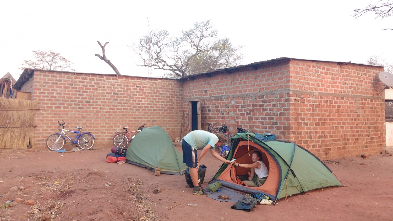 Our tents pitched behind Kalundu bar in Rufunsa